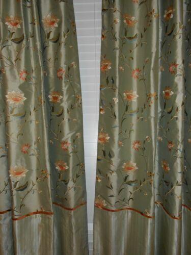 KRAVET fabric Drapes silk embroidered floral design green brick Custom new PAIR