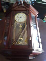 D & A WESTMINSTER/WHITTINGTON QUARTS WALL CLOCK w/SHELVES