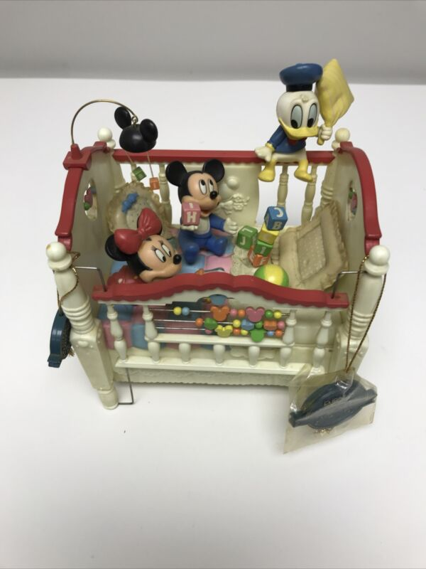 READ AD  Enesco MICKEY & MINNIE Crib Commotion Wind Up Music Box w Motion Duck