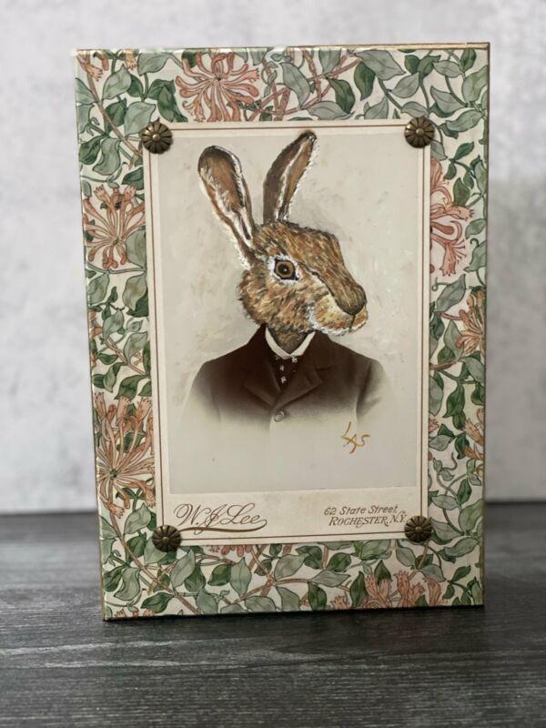 Hand painted Original Art Whimsical Rabbit on Antique Photograph