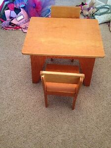 Wood kids table and chairs
