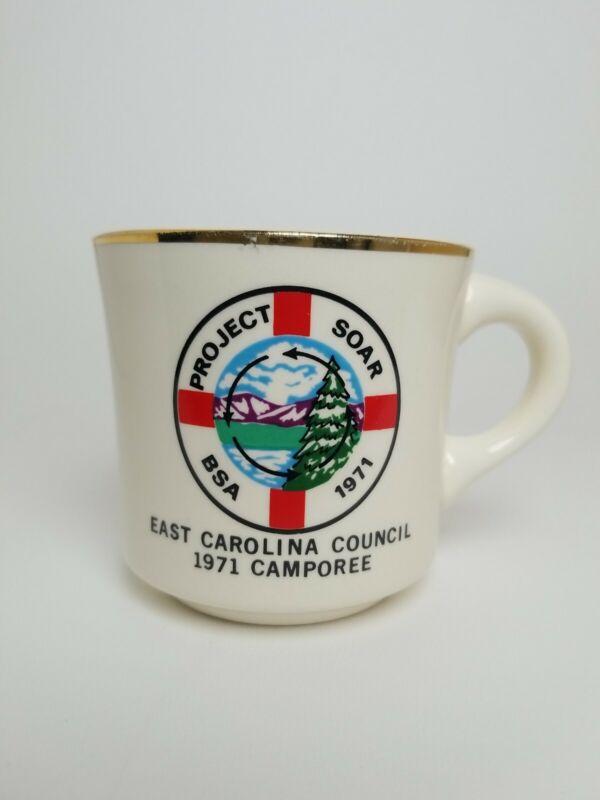 Vintage 1971 BSA Project Soar East Carolina Coucil Camporee Coffee Cup Mug