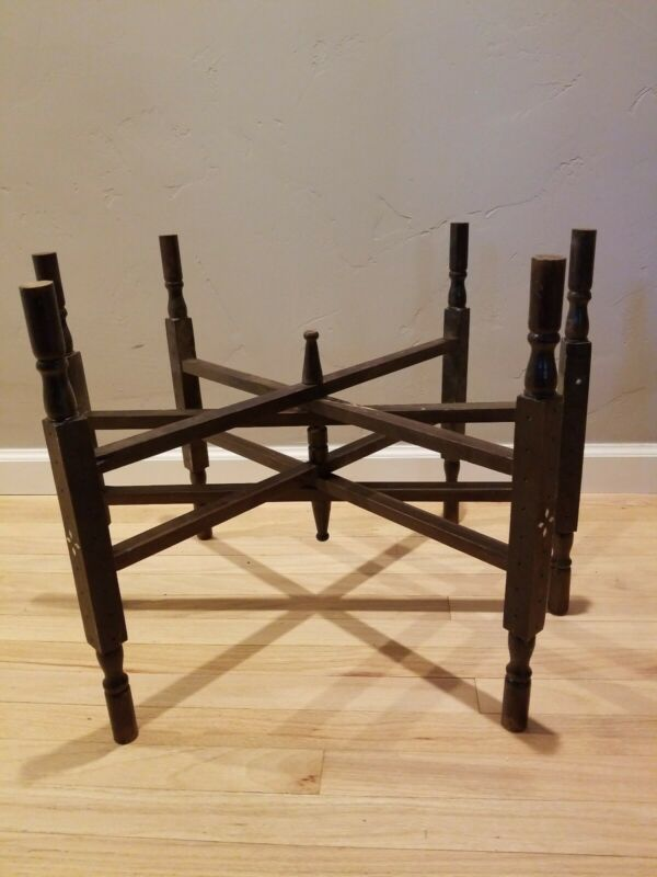 Wood Tray Stand Handcarved Inlay Folds Table Asian Antique Vintage