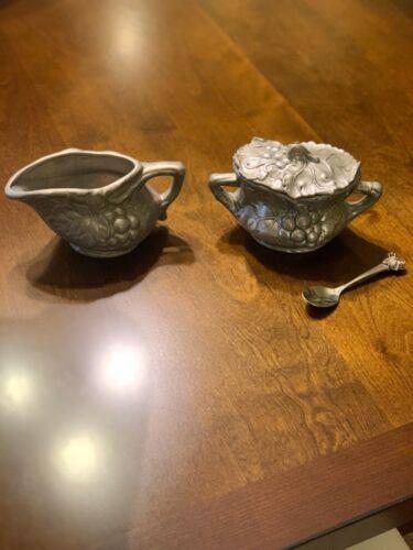Arthur Court 2001 Grapes Sugar Bowl, Lid, Spoon, and Creamer
