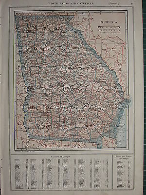 1926 MAP ~ GEORGIA PRINCIPAL TOWNS COUNTIES LIBERTY