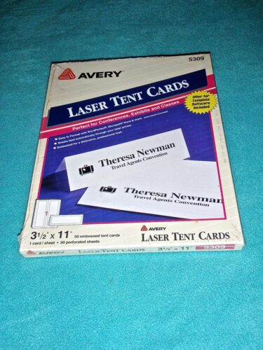 """AVERY LASER TENT CARDS 3 1/2"""" x 11"""" 50 EMBOSSED TENT CARDS  #5309~ NEW!"""
