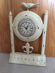 VTG Metal Mantle Cream CLOCK Fleur de Lis & Bird Running Cottage French Country