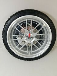 Sterling & Noble Wheel/Tire Wall Clock Ideal for Garage, Auto Repair Shop etc.