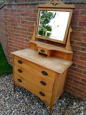 Old Stripped Pine Dressing Table Swing Mirror Drawers Unit Chest Vintage Wooden