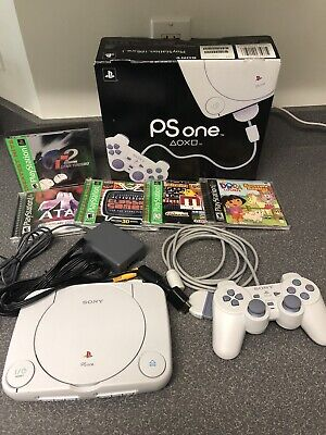 Sony PlayStation 1 Console, Controller, Cables, Original Box, and Five Games