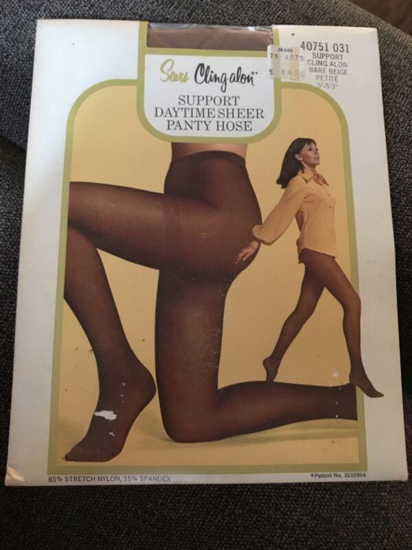 Vintage Sears Cling-alon Pantyhose  Hose Petite Bare Beige Rare