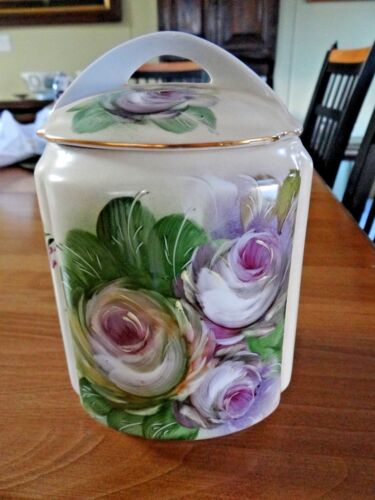 BEAUTIFUL PORCELAIN BISCUIT JAR HAND PAINTED PURPLE ROSE FLOWERS COVERED