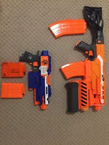 2 automatic, electric, rapid fire nerf guns