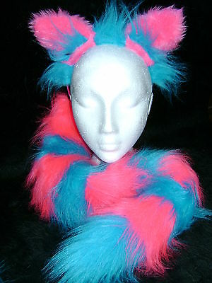 The Cheshire Cat Ears And Tail Fancy Dress Set Bright Pink & Turquoise One Size (Pink Cat Ears And Tail)