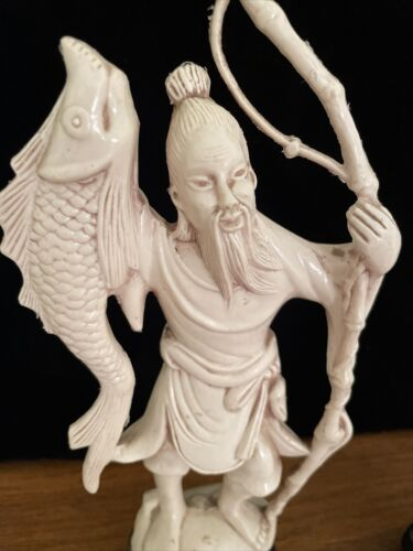 Pair Vintage Chinese Fisherman Woman Plastic / Resin Figurine Off White Statue - $35.00
