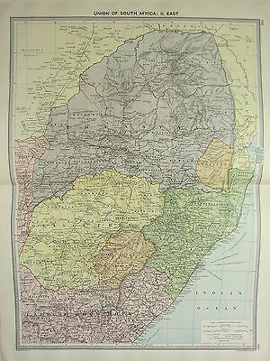 1920 LARGE MAP UNION OF SOUTH AFRICA EAST TRANSVAAL NATAL SWAZILAND BASUTOLAND