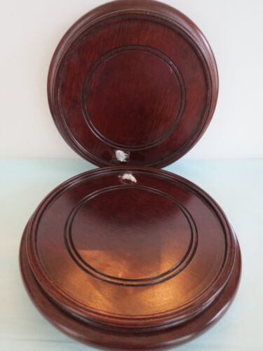 """VINTAGE Matched Pair of CARVED MAHOGANY WOOD Round CHINESE DISPLAY STANDS 7""""Diam"""
