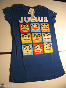 New-Paul-Frank-Blue-Kids-T-Shirt-Julius-Monkey-expressions-moods-M-L-XL
