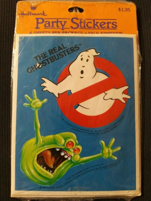 Vintage 1984 The Real Ghostbusters Party Stickers Hallmark NEW NOS 4 Pack