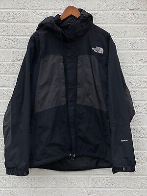 THE NORTH FACE HYVENT Mens LARGE Black Charcoal /GREY Nylon Snow Ski Wind Rain
