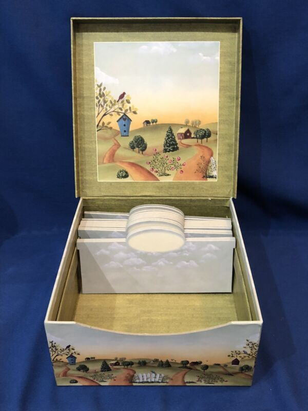 "HTF~ New Seasons Folk Art Photo / Recipe / Storage Box w/ Dividers 10"" x 9.5"""