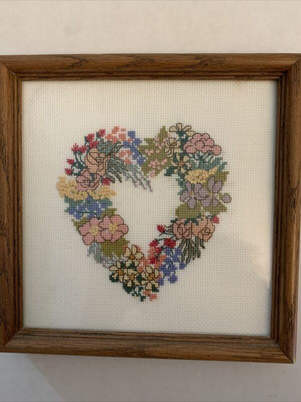 """Heart Flower Needlepoint Finished Completed Sampler Solid Wood Framed 7"""" Square"""
