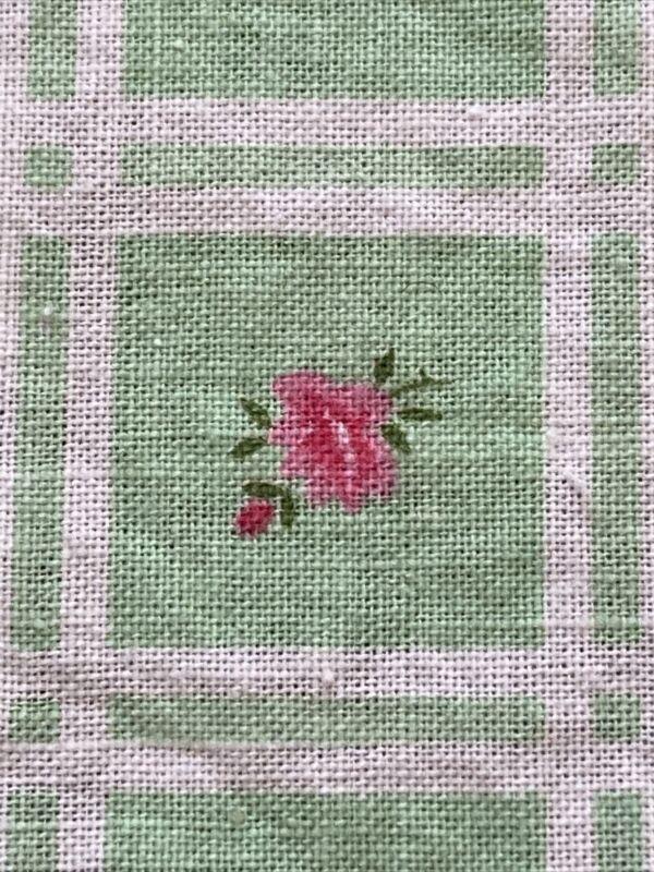 Vtg Full Feedsack Pink Rose Flowers Mint Green 35 x 41