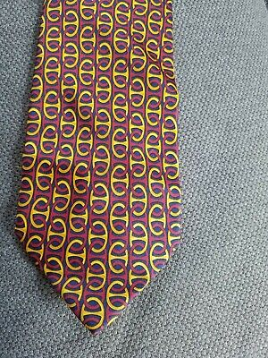 GUCCI Vintage Men's Tie Paolo Gucci Silk Made in Italy Red & Gold Chain Link