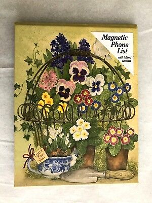 NEW~Family Magnetic Phone List~Tabbed~Pansy Flower Basket~Great for Parents