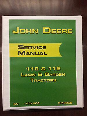 John Deere 110 112 Lawn Garden Tractors Tractor Service Manual Book