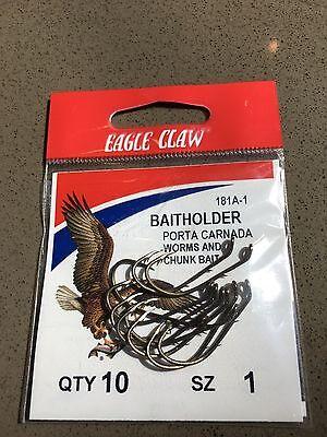 (Eagle Claw Baitholder Fish Hooks, Sizes 1, 2, 4, 6, 8, 2/0)