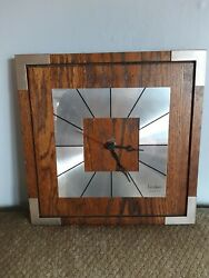 Mid Century Modern Wall Clock Made by Linden  Square Wood Metal 11 x 11