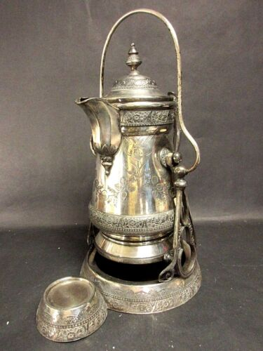 1879 Engraved WILCOX Quadruple Silver Plate Tilting Insulated Water Pitcher