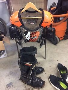 Motorcross boots and Thor chest protector