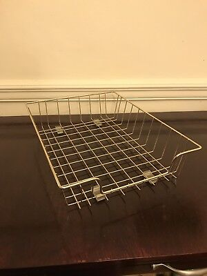 Vintage Industrial Wire Paper Tray Basket Desk Organizer Gold Like Office Holder