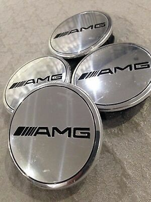 4pcs Mercedes Benz Alloy Wheel Centre Caps 75mm Badges SILVER AMG Hub Emblem