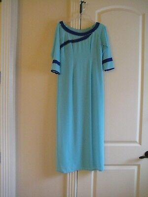 NWOT SKY BLUE 3/4 SLEEVES CHIFFON VIETNAMESE TRADITIONAL DRESS AO DAI - Sky Blue Chiffon