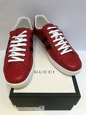 AUTHENTIC GUCCI Signature Web Ace GG REDS'' Lows Sneaker 48 UK12/12.5. NEW. RARE