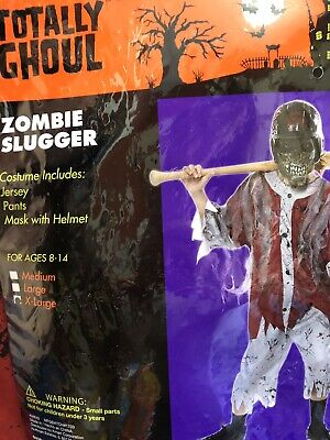 Baseball Costume For Boys (Totally Ghoul Halloween Costume ZOMBIE SLUGGER Baseball Child X-Large XL)
