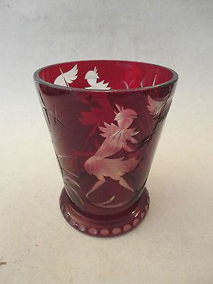 Glas Vase Art deco Frau mit Schirm