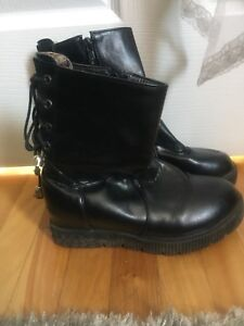 Black faux leather boots edgy in size 6.5 for women