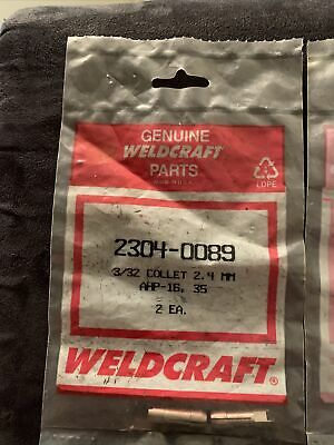 2 Pc Weldcraft 2304-0089 Collet 332 A16hp A35 Hp Airco Linde Style Tig Torches