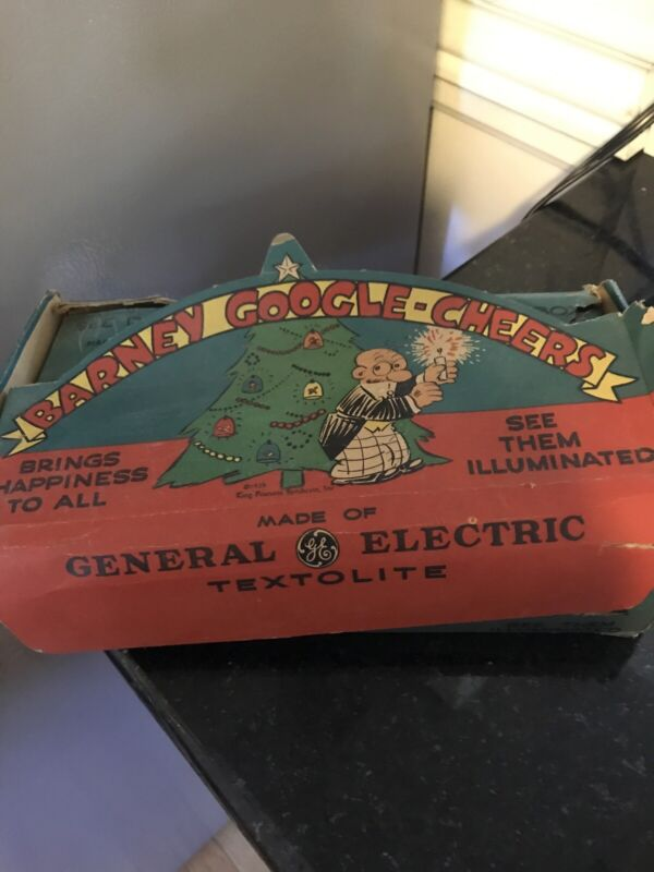 6 Antique Barney Google Cheers Christmas Light Covers with Box 1920