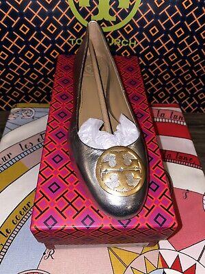 Tory Burch BENTON Flats Gold Logo Ballet Shoe Metallic size 7.5