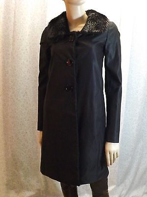 NWT PRADA BLACK SHEEN DENIM RAW BEAVER COLLAR BUTTONS TRENCH COAT 40 4