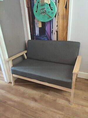 Grey 2 seater sofa solid oak frame - contemporary and compact / small IMMACULATE