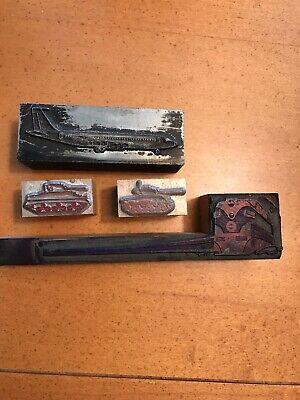 4 Metal Wood Block Prints Of Various Types Of Travel
