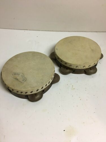 VINTAGE ANTIQUE PAIR WOOD AND SKIN TAMBERINES MUSICAL INSTRUMENTS