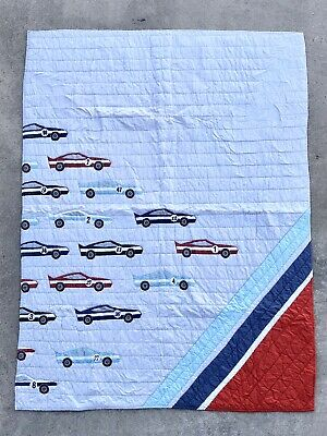 Land Of Nod Pit Crew Race Car Twin Bedding Quilt Crate & Kids / Barrel