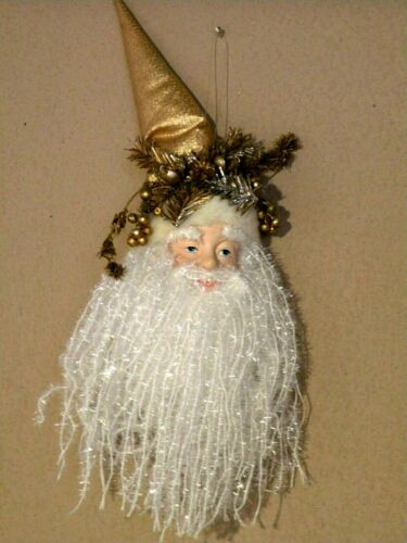 "Christmas Santa Head Ornament Long Beard 13""  Hanger Gold Hat"